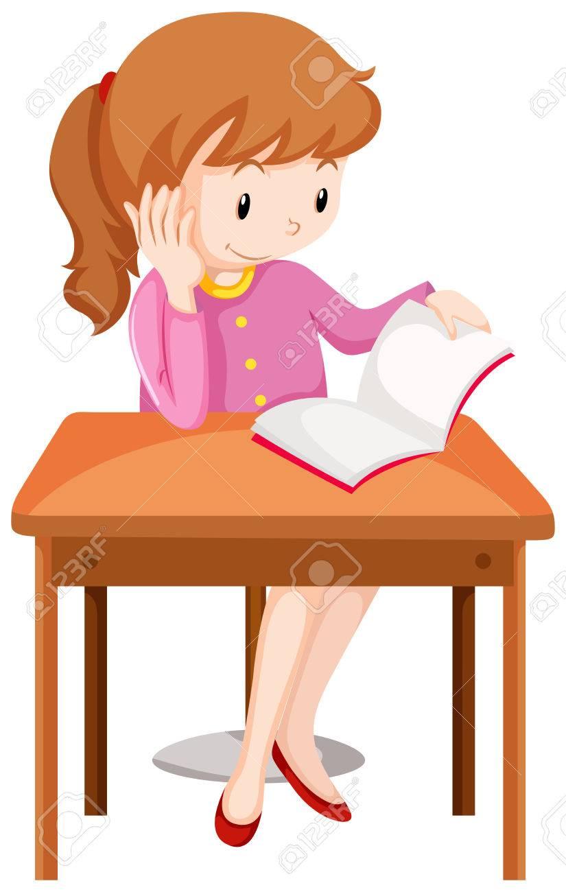 Girl reading book on the desk illustration.