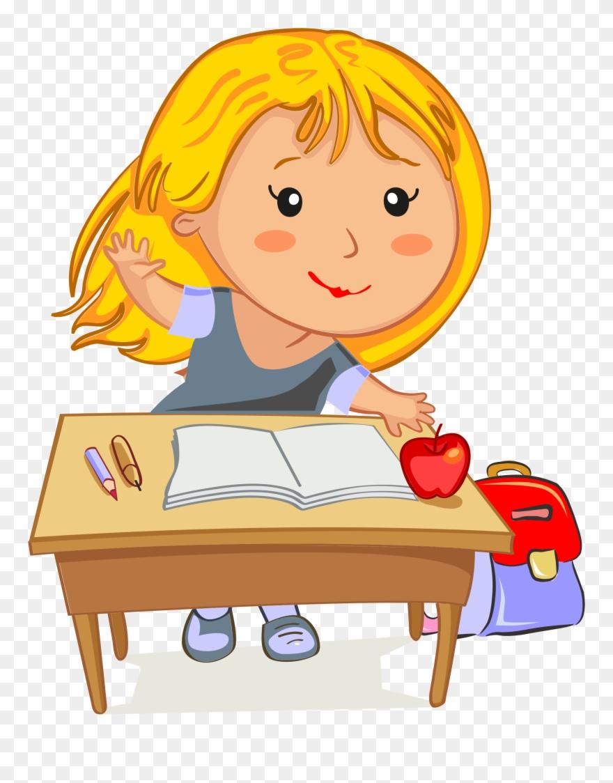 Girl Sitting At Desk Clipart.