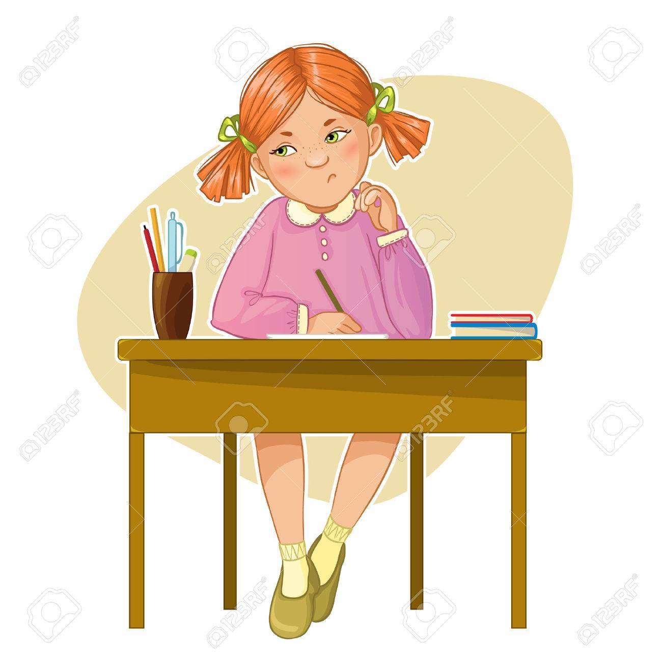 Girl sitting at desk clipart 2 » Clipart Portal.
