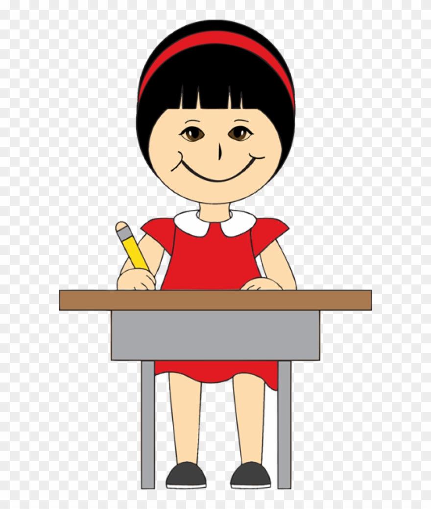 Clipart Children In School Desks.