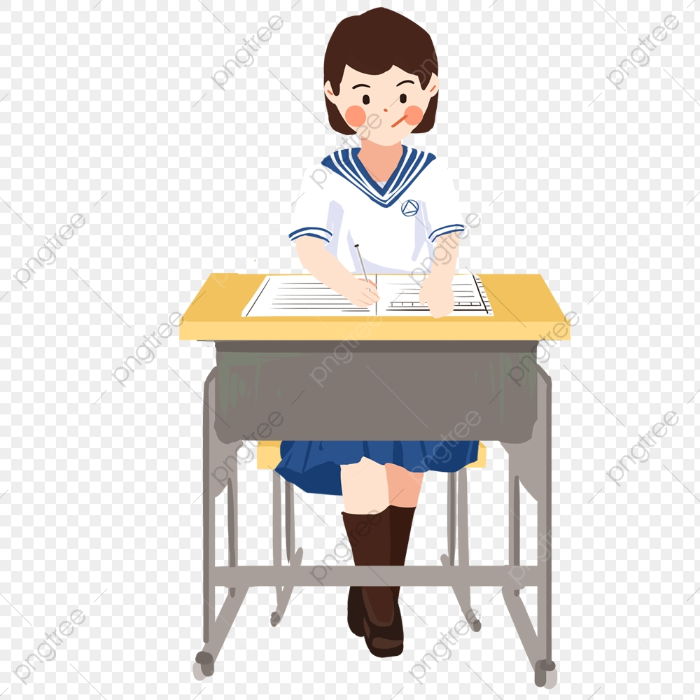 Middle School Student Learn Girl Desk, Writing, Learn, Book PNG.