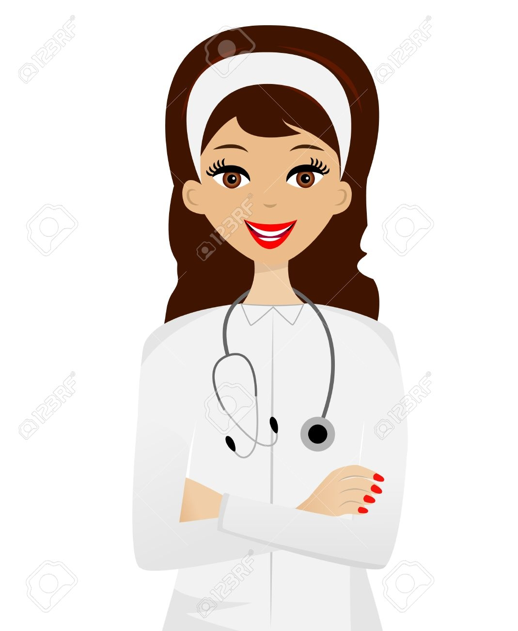 Girl Doctor With Patient Clipart.