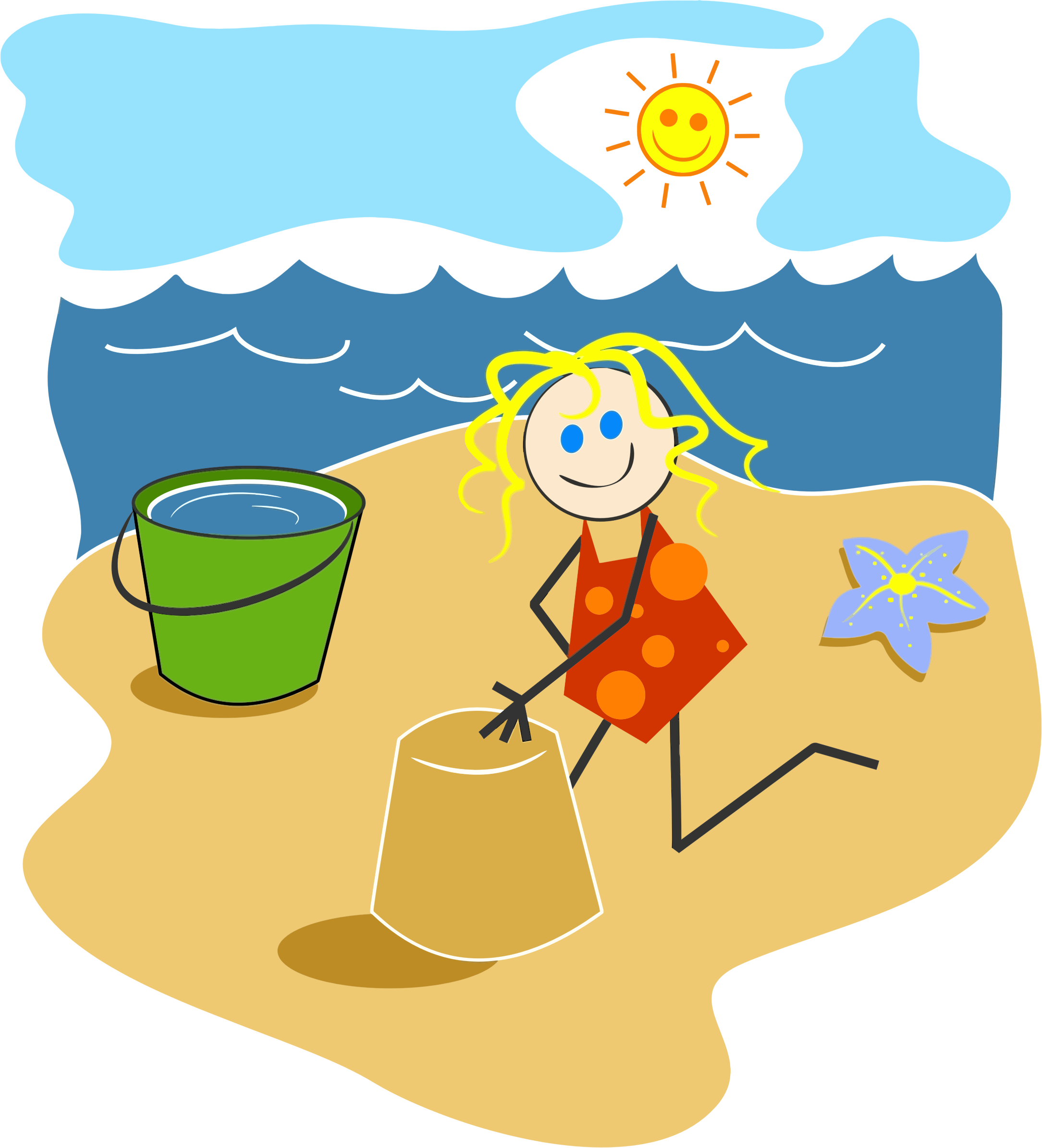 Clipart Girl At The Beach.