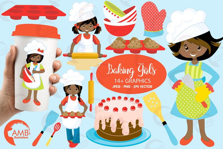 Baking Girls Clipart AMB.