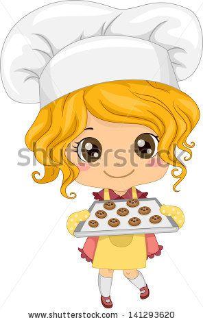 Illustration of Cute Little Girl Baking Cookies.