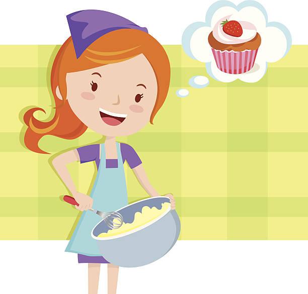Girl Baking A Cake Clipart.