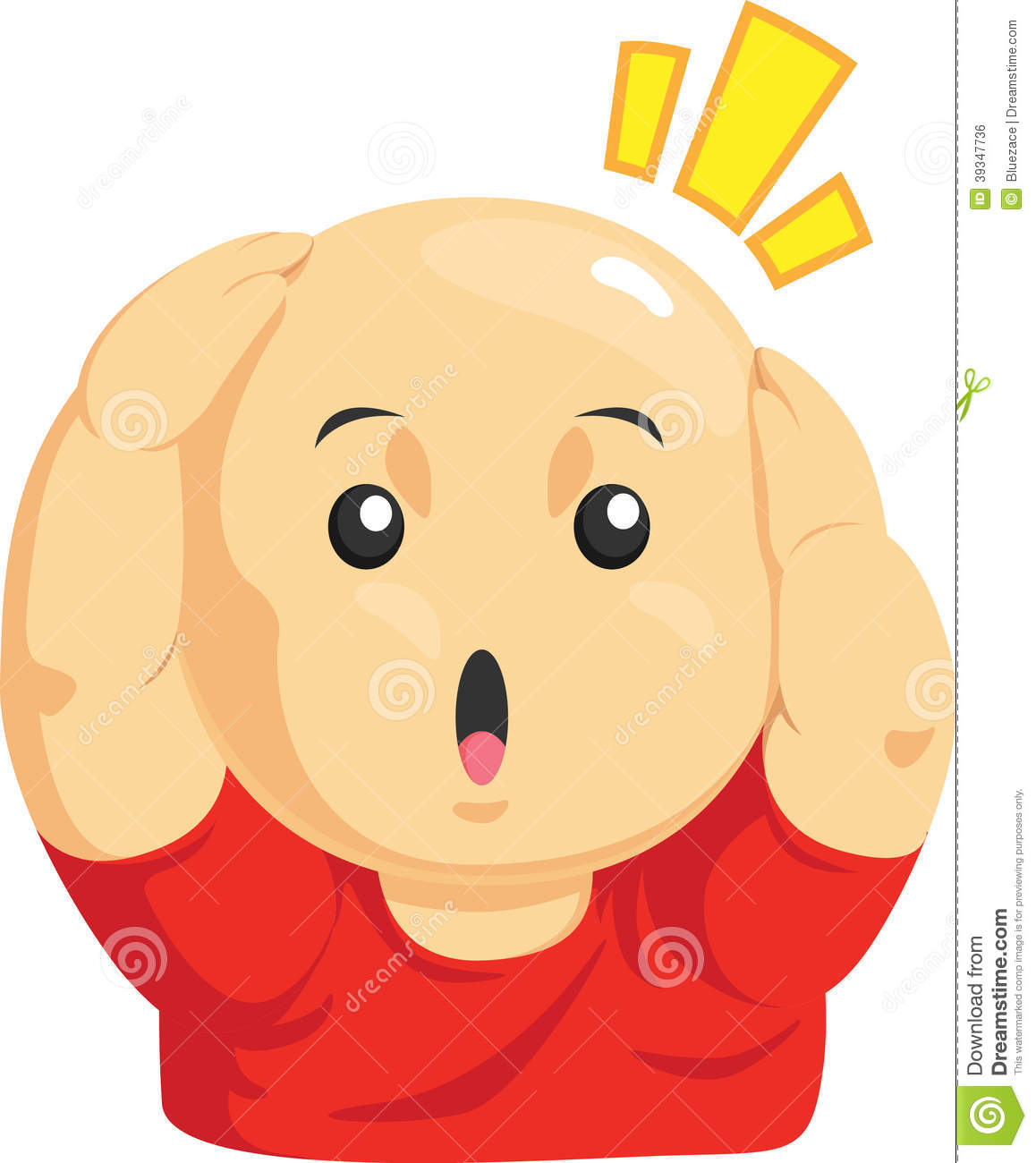 Cartoon Of Funny Bald Kid Stock Vector.