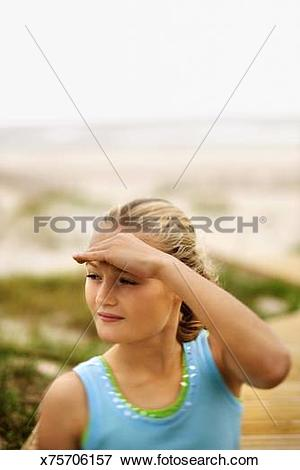 Picture of Girl on beach, Bald Head Island, North Carolina.