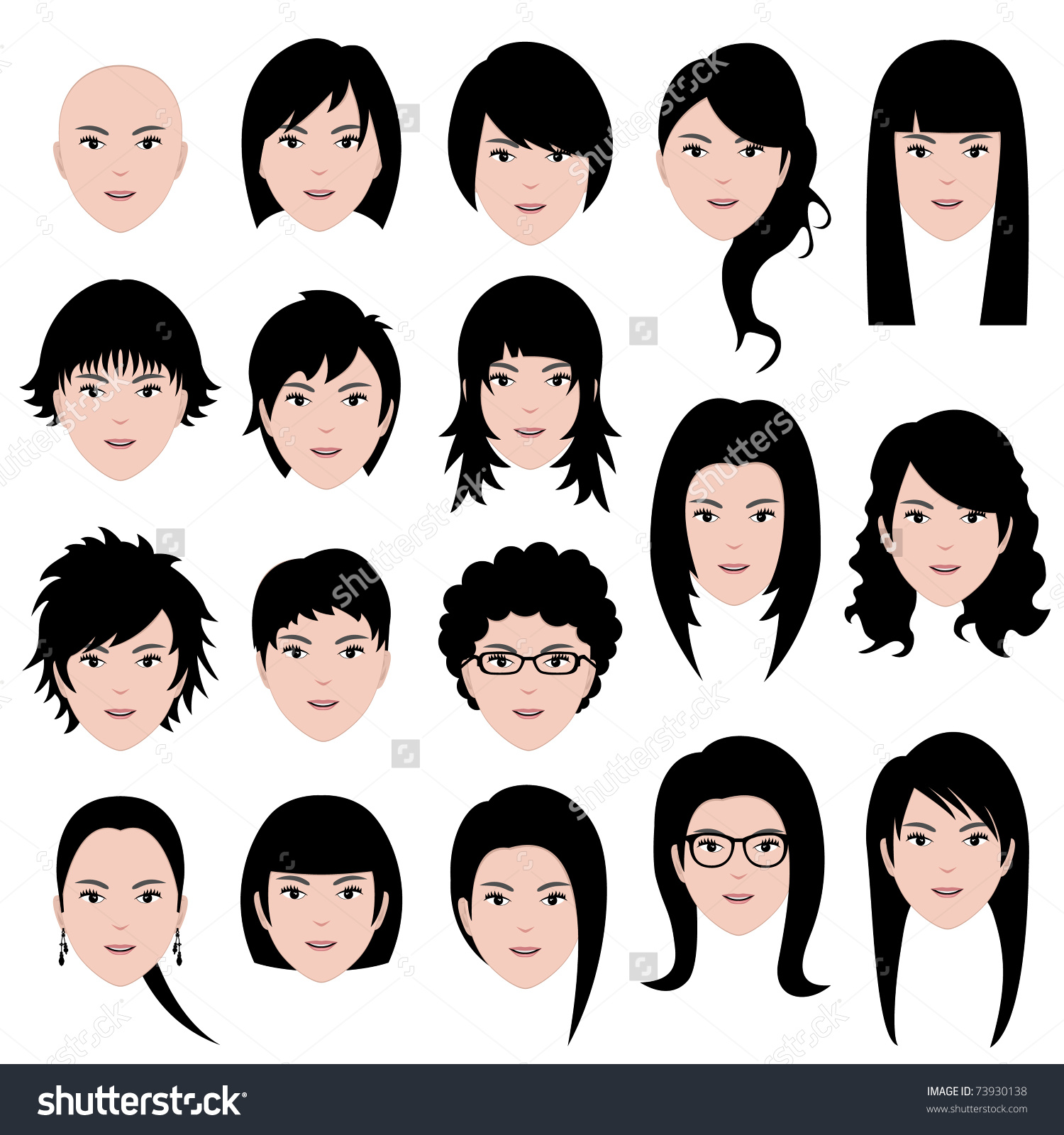 Woman Female Human Face Head Hair Stock Illustration 73930138.