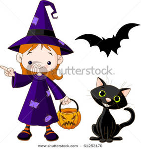 Girl Dressed As a Witch For Halloween with a Black Cat and a Bat.