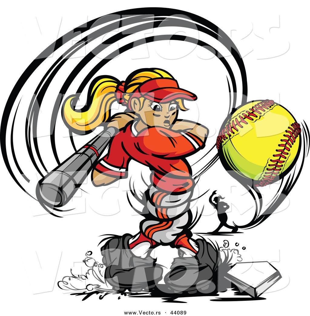Softball Hitting Clipart.