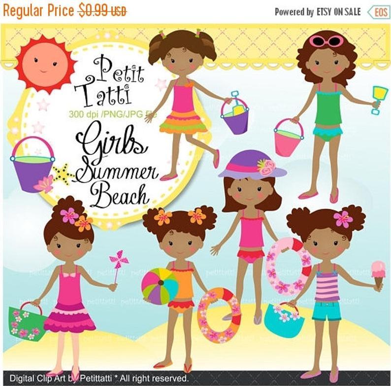 ON SALE Girl Beach Clipart _ Beach Clip Art. Summer Clip Art,African  American Girls Clip Art,Summer Beach Girls,Summer Clipart,Sun Sea Sand,.