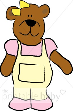 Bear in Yellow and Pink Clipart.