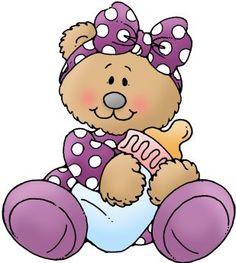 Baby Girl Feeding Bear Clipart.