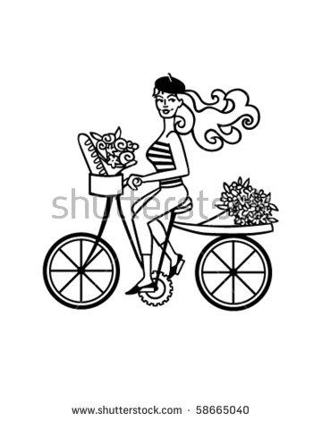 French Girl On Bike Retro Clip Stock Vector 58665040.