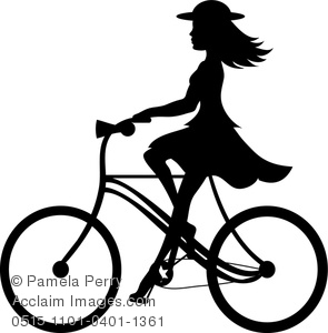 Girl Biking Silhouette.