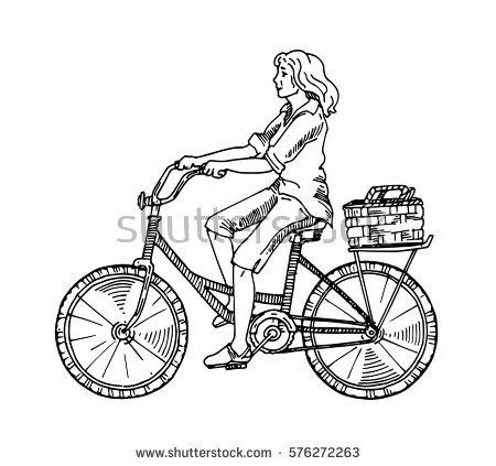 Girl Rides Bicycleblack White Sketchbeautiful Girl Stock Vector.