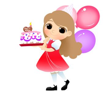 Birthday Girl with Cake and Candle clip art.