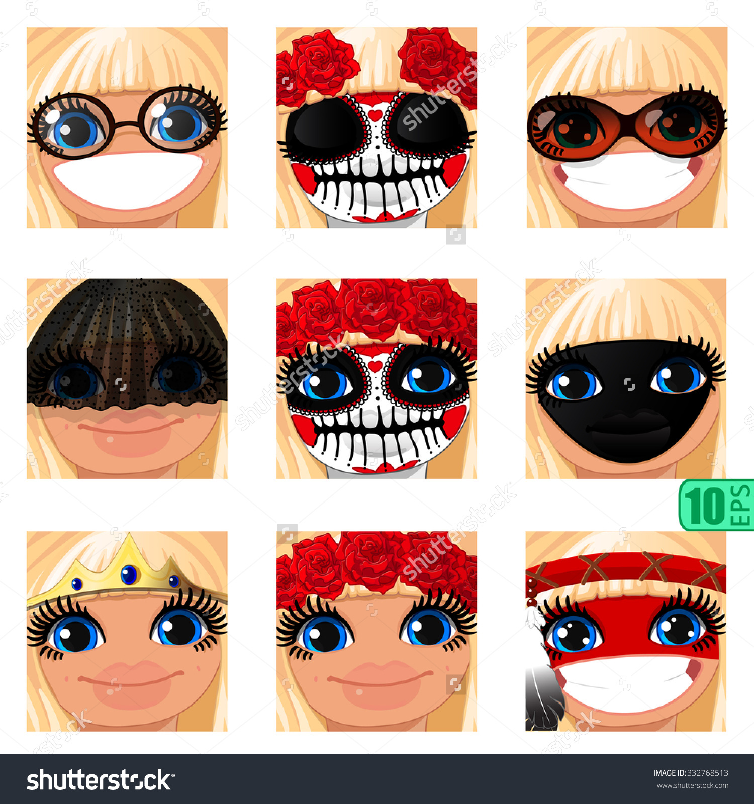 Vector Set Avatars Icons Smiley Clipart Stock Vector 332768513.