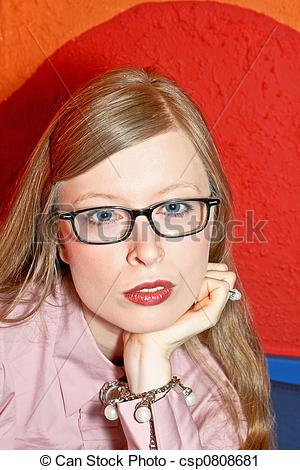 Stock Photography of Blonde with glasses.