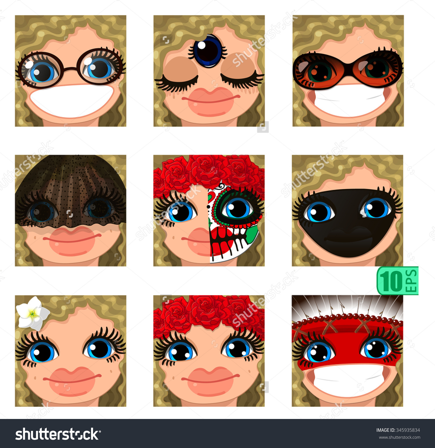 Vector Set Avatars Icons Smiley Clipart Girl Faces Wavy Curly.