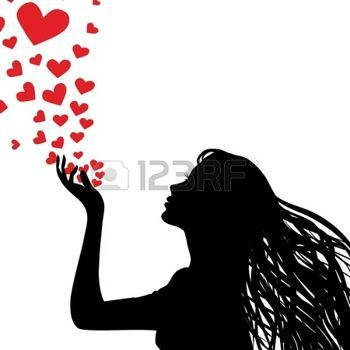 blow kiss: Woman silhouette hand. Pretty girl blowing heart.