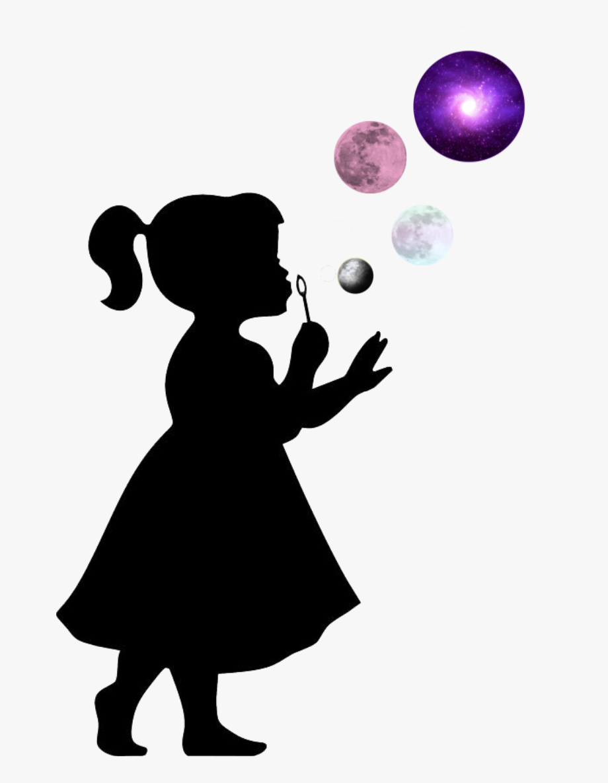 silhouette #girl #bubbles.