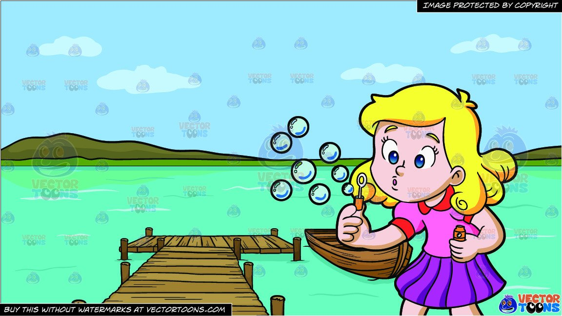 A Young Girl Blowing Bubbles and A Long Wooden Dock On A Lake Background.