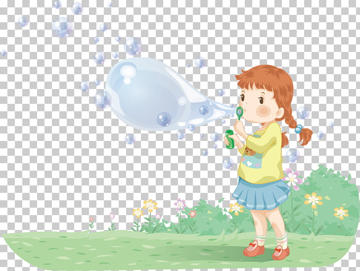 Girl Cartoon Illustration, Girl blowing bubbles PNG clipart.
