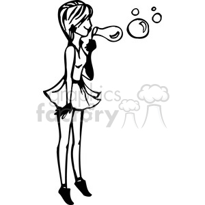 girl blowing bubbles clipart. Royalty.