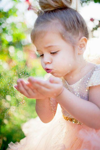 Girl blowing glitter clipart #2