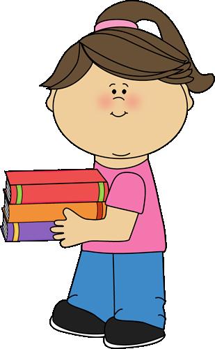 Girl Holding Books Clip Art.