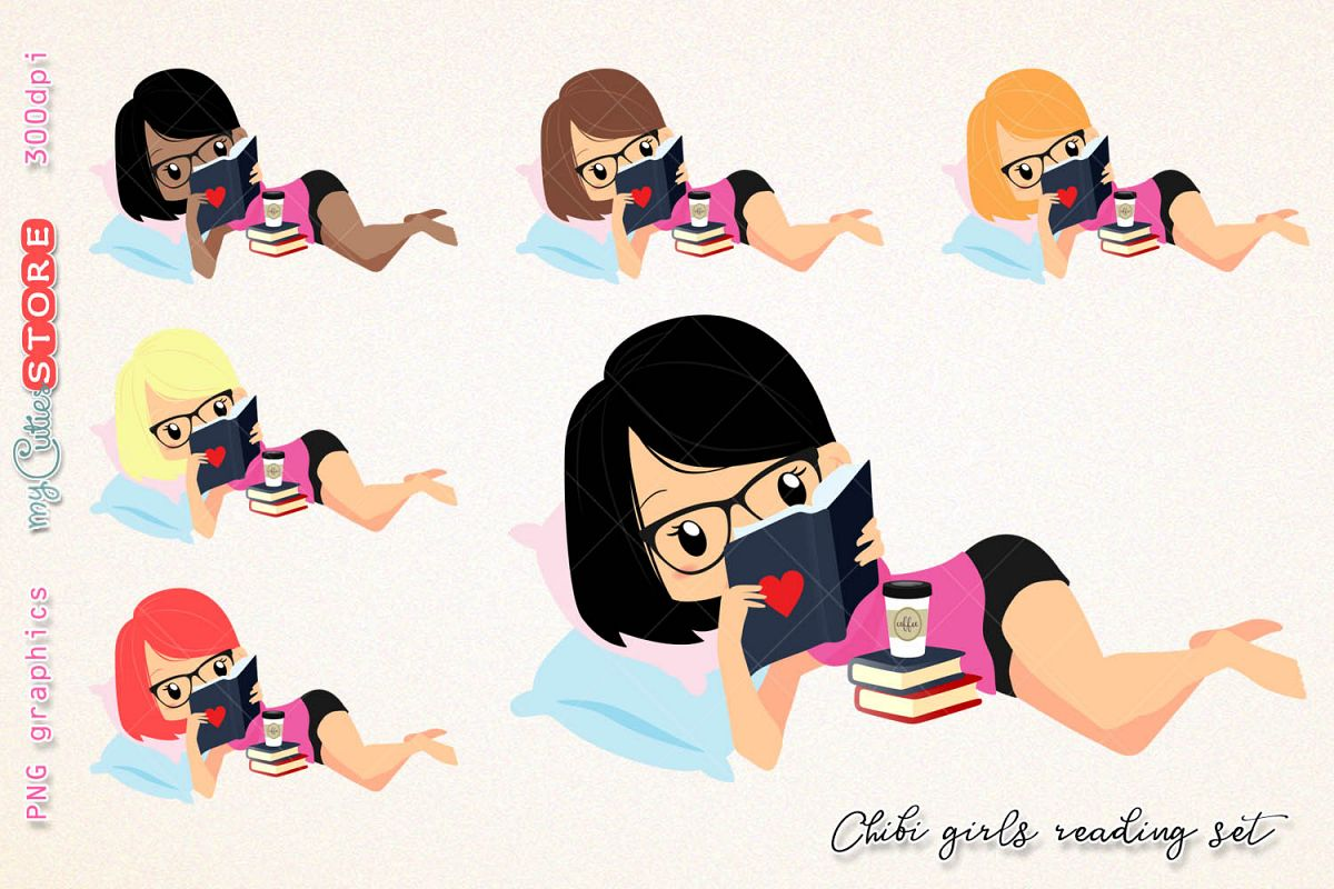 Chibi girl reading a book clipart, woman read a book clip art, png graphics  set great for digital planning, stickers, cards, invitations..