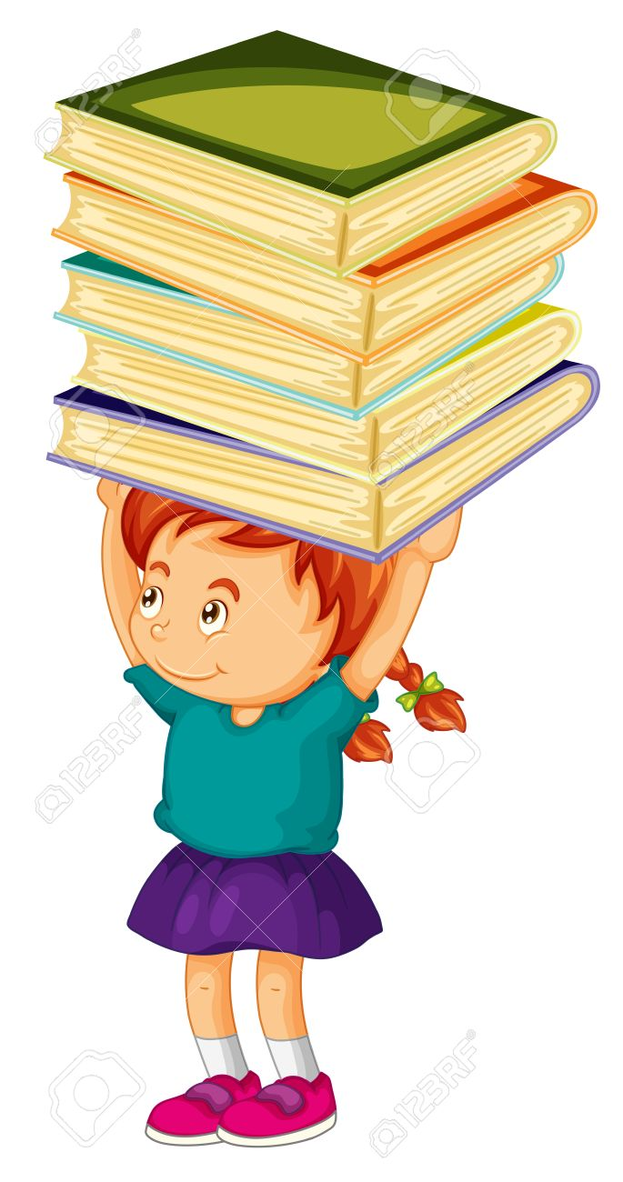 Girl carrying stack of books on her head illustration.