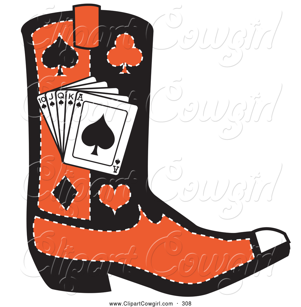 Heart Cow Girl Boots Clipart.