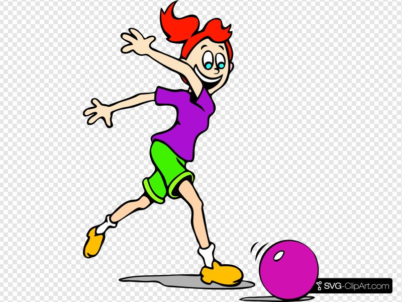 Girl Bowling Clip art, Icon and SVG.