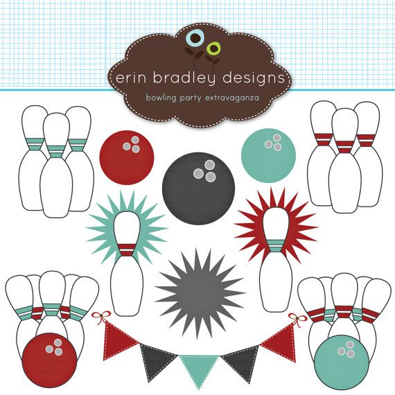 Bowling Clipart Clip Art Personal & Commercial Use.