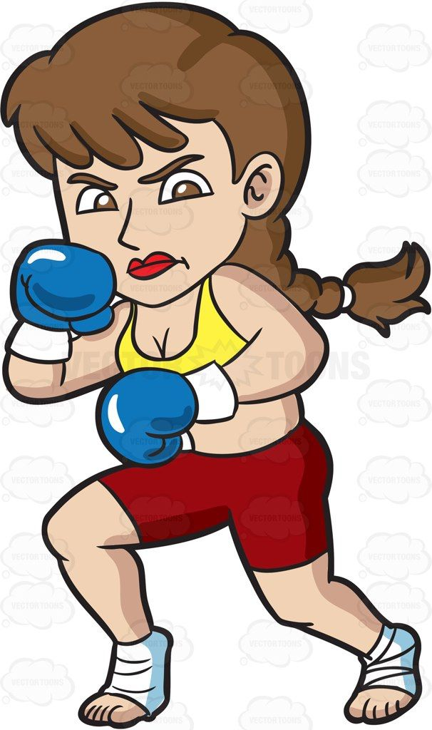 A woman getting ready for kickboxing #cartoon #clipart.