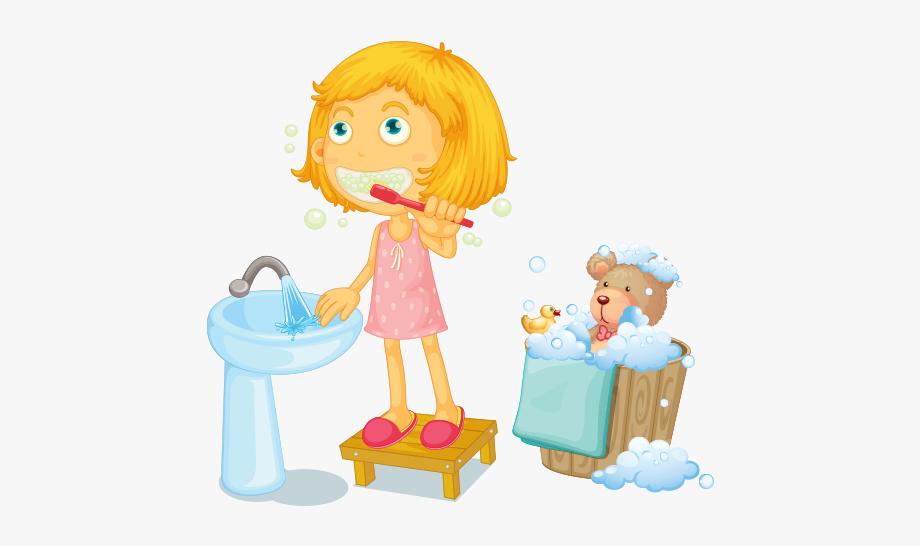Clipart Diş Fırçalayan Kız Çocuğu.