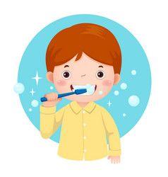 Cute girl brushing her teeth Royalty Free Vector Image.