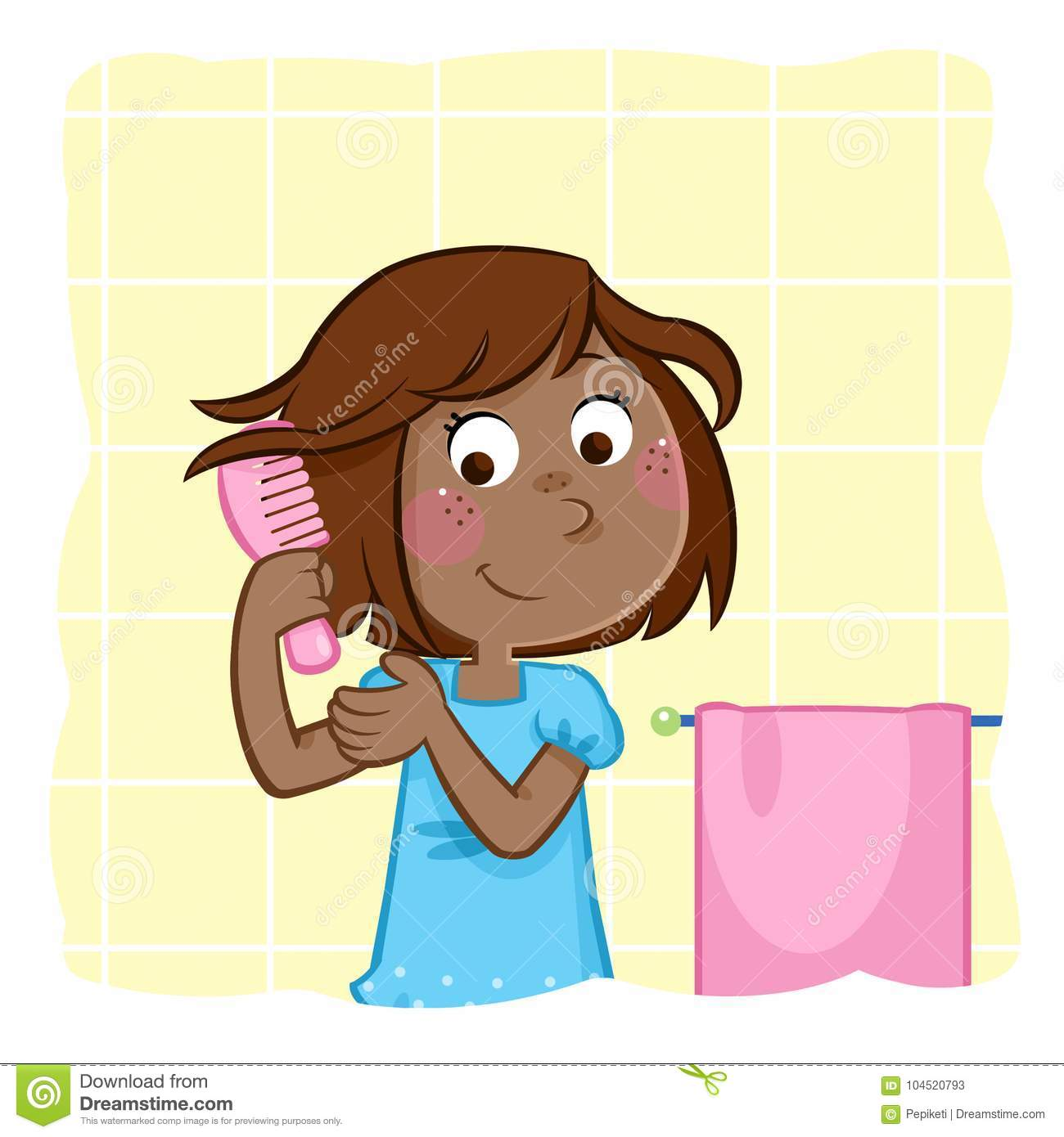 Adorable Little Black Girl Combing Hair In The Bathroom Stock.
