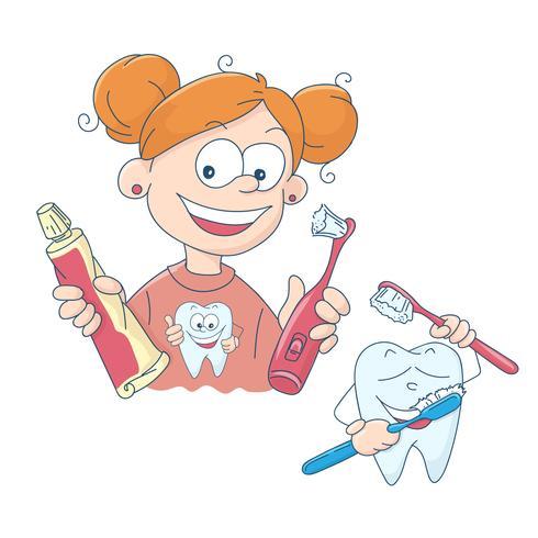 Vector illustration of a little girl brushing her teeth.