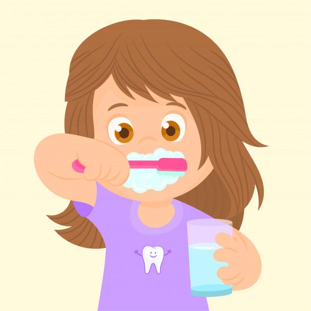 Little girl brushing her teeth Vector.