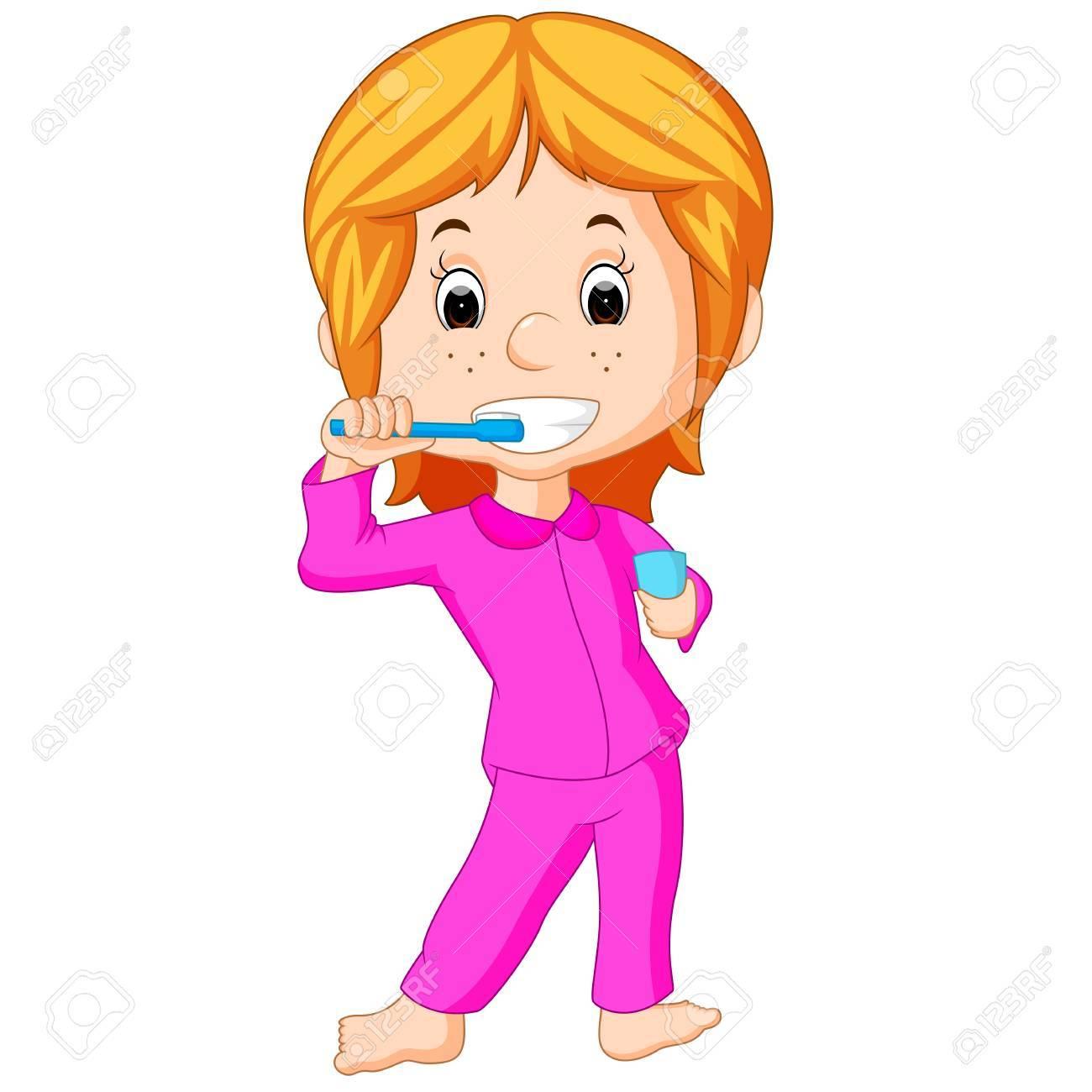 Happy cute girl brushing teeth.