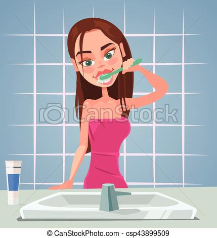 Girl character brushing teeth. Vector flat cartoon illustration.