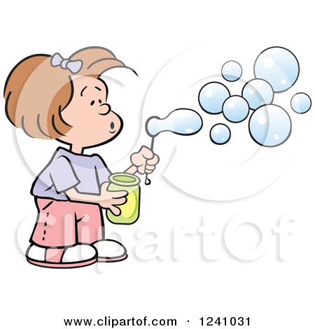 Girl Bubble Blowing Clipart.