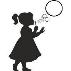 Silhouette Little Girl Blowing Bubbles Siluetas on pinterest.
