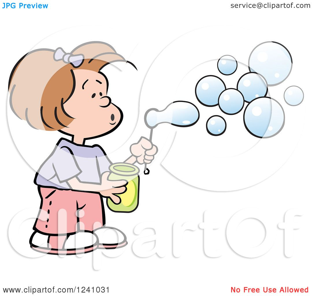 Clipart of a Caucasian Girl Blowing Bubbles.