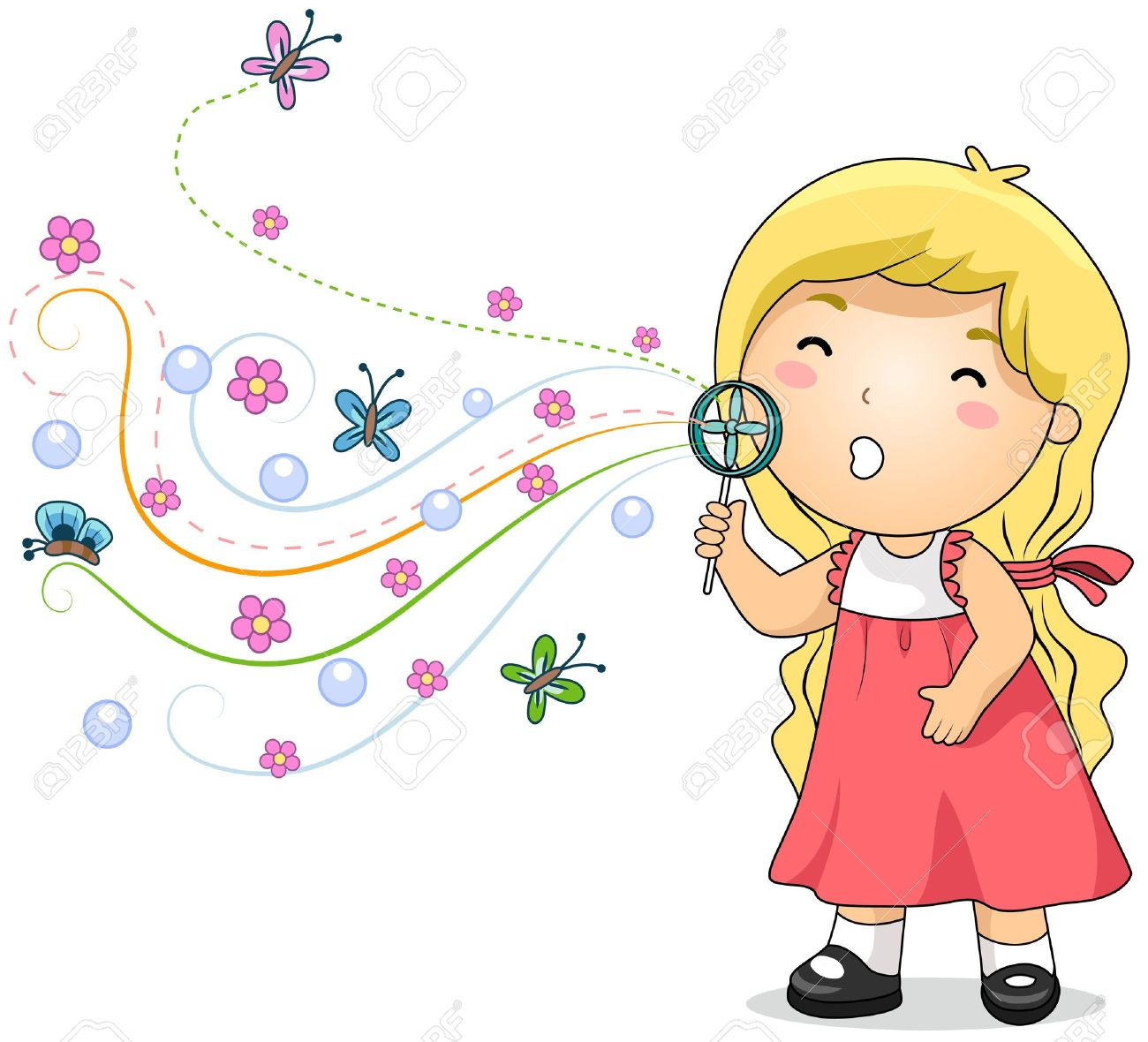 Illustration Of A Little Girl Blowing Bubbles Stock Photo, Picture.