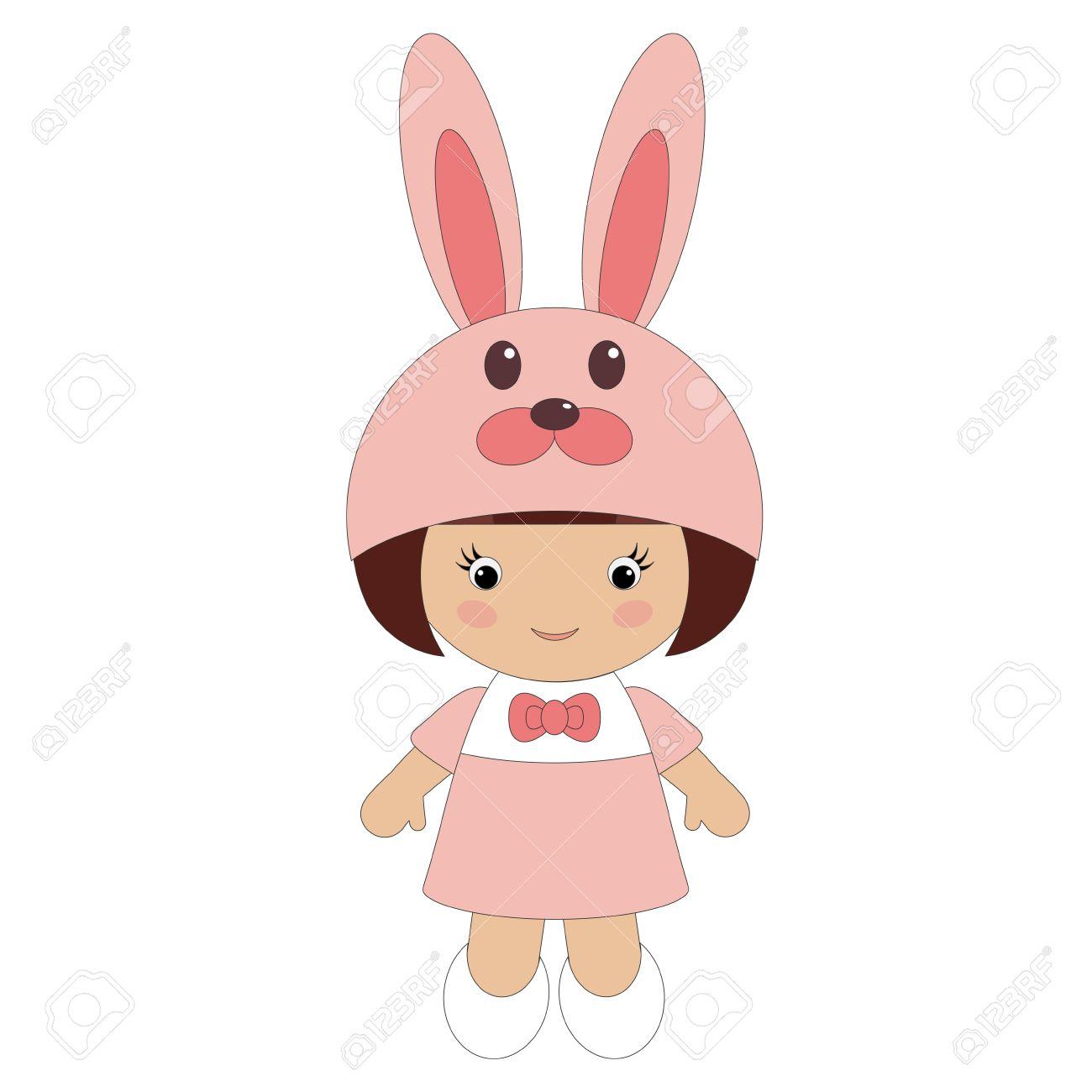 Little girl in bunny costume.